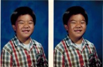 Image of my class photo in 5th grade in 1988. This is the year we moved from San Francisco to Fremont. I have a big smile, big cheeks, you can barely see my eyes. I have short hair, growing out of a buzz cut in the summer.
