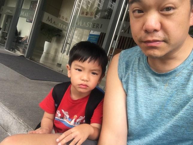 sad and grumpy face Collin and baba
