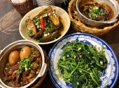 claypot porkbelly and egg, sauteed yam leaves, eggplant with scallion oil