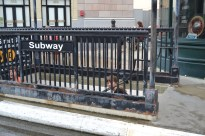 Closest both kiddos will ever get to a subway entrance!