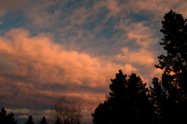 A Bronco-orange sunset over the Bar B backyard on 12/1/13