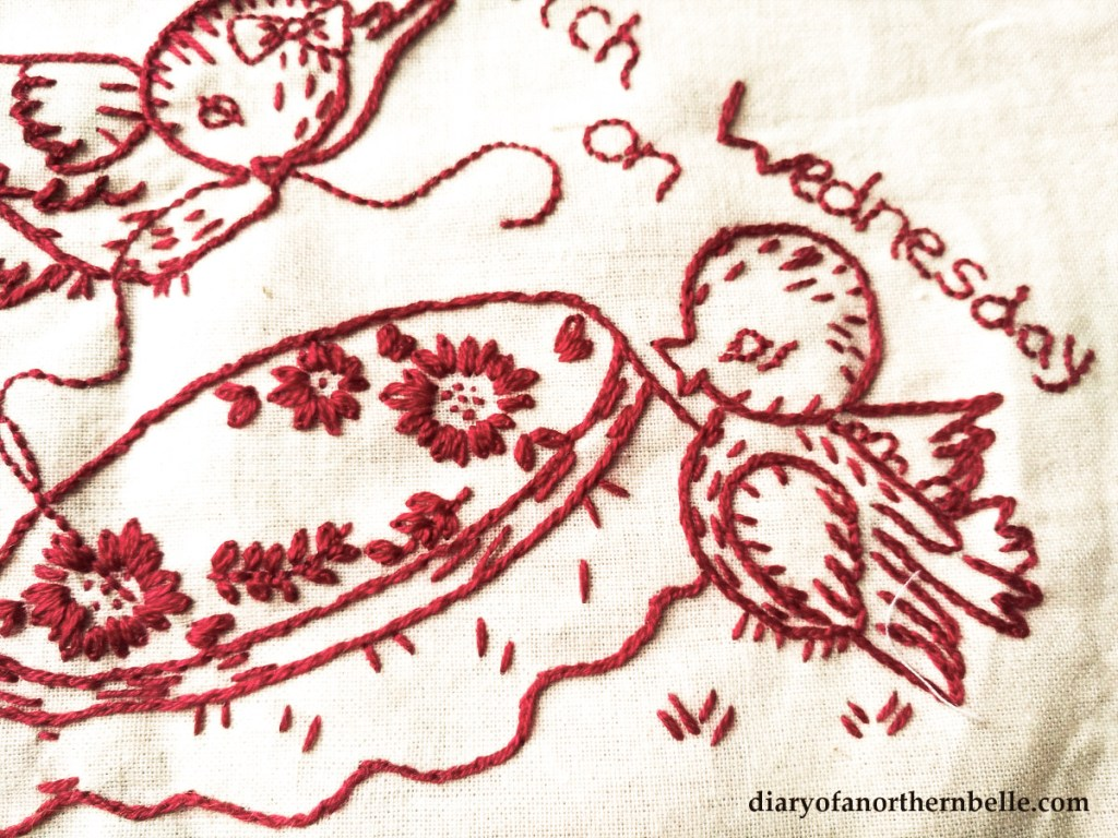 redwork embroidery vintage birds and hoop stitched in red thread