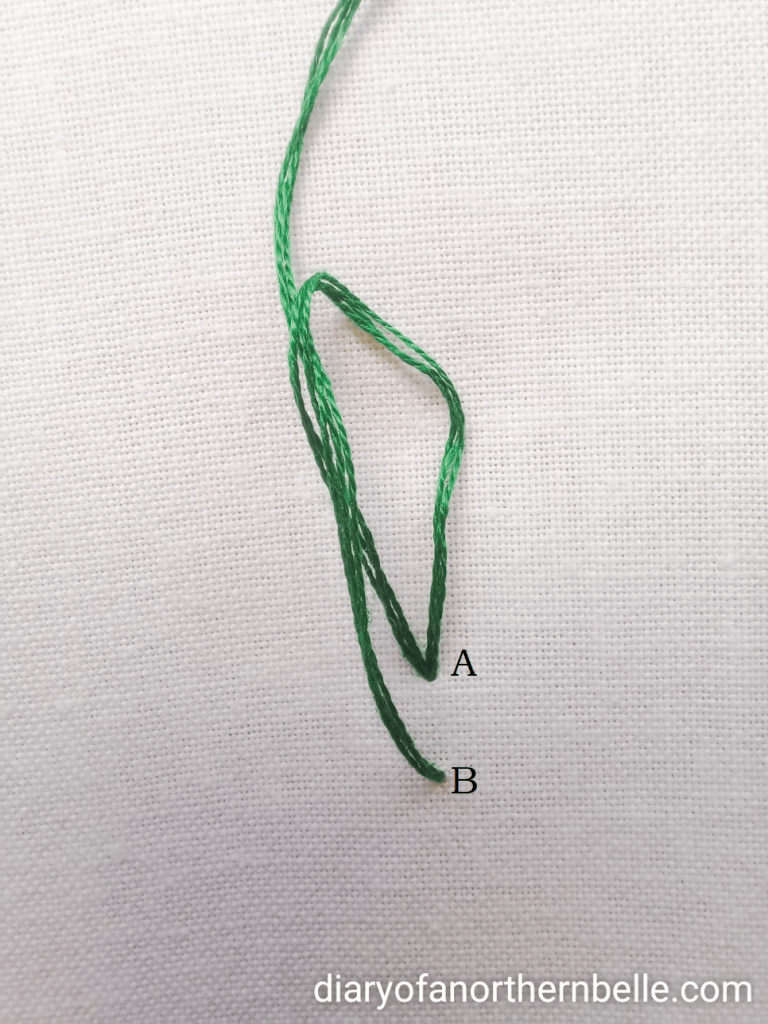 thread being pulled through loop for chain stitch