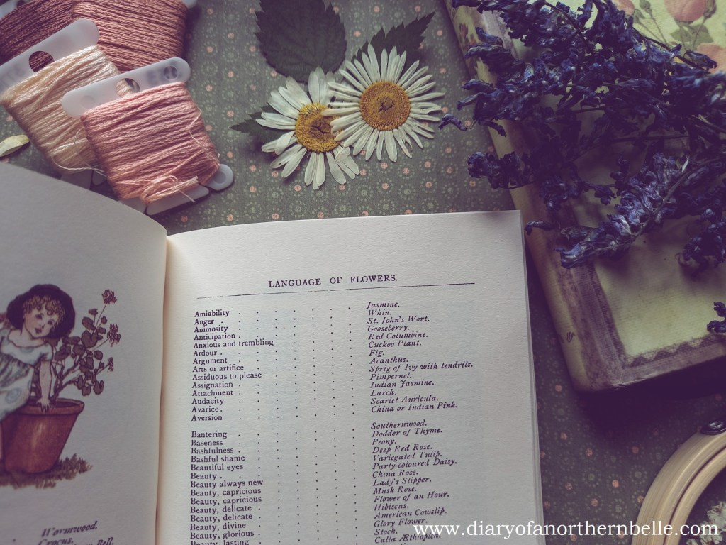 list showing various meanings in floriography