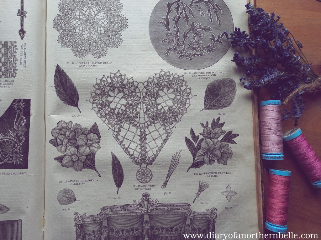 victorian needlework patterns from 1874 and spools of pink silk thread