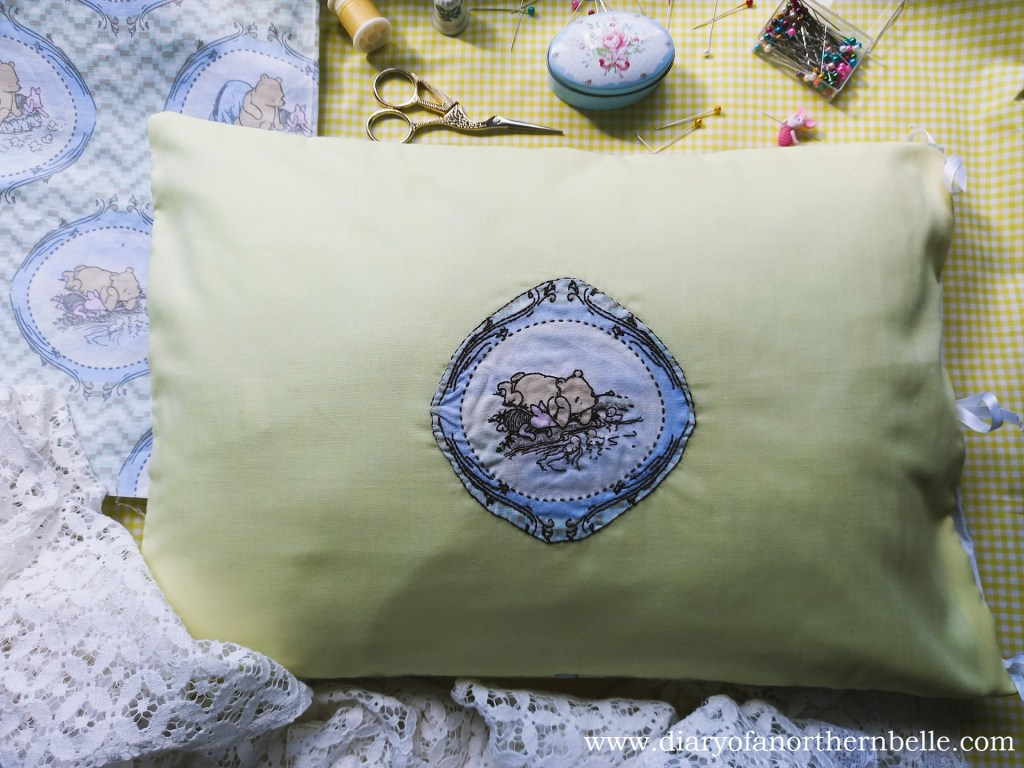 embroidered side of the pillow