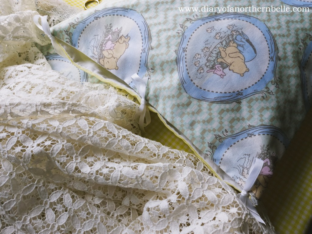 pillow case opening on the side fastened with ribbons