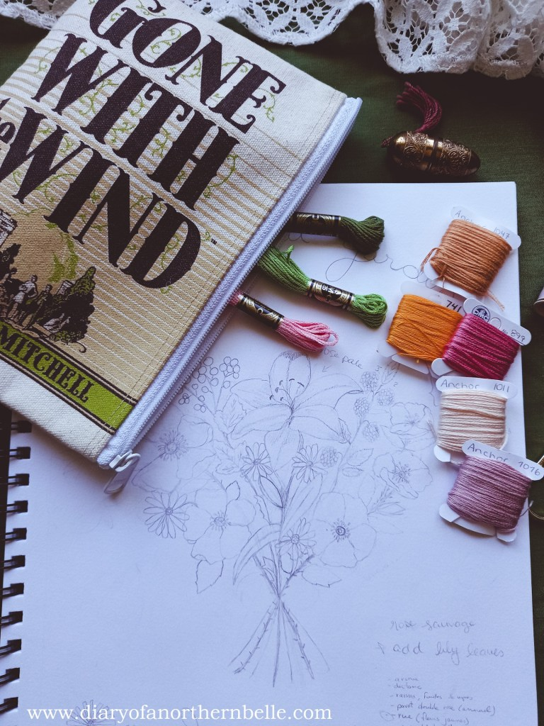 garden bouquet sketch with selected dmc threads and Gone With the Wind pouch