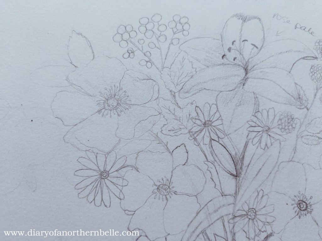 close-up of garden bouquet sketch showing branch of wild roses