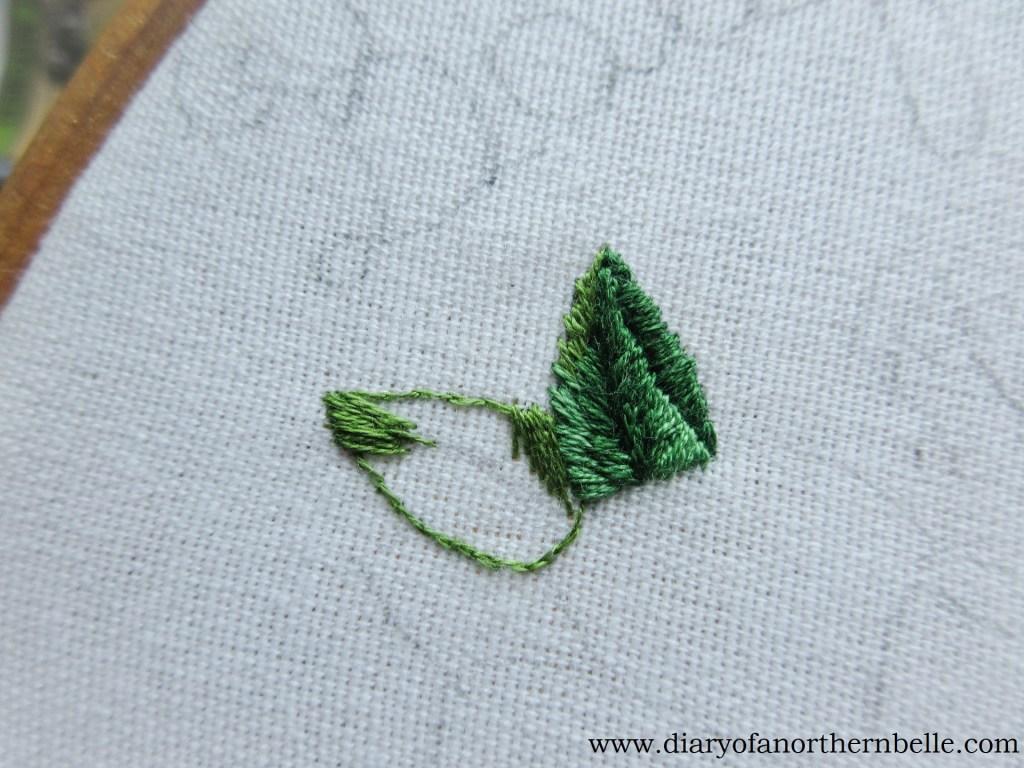 long & short stitch first layer on leaf