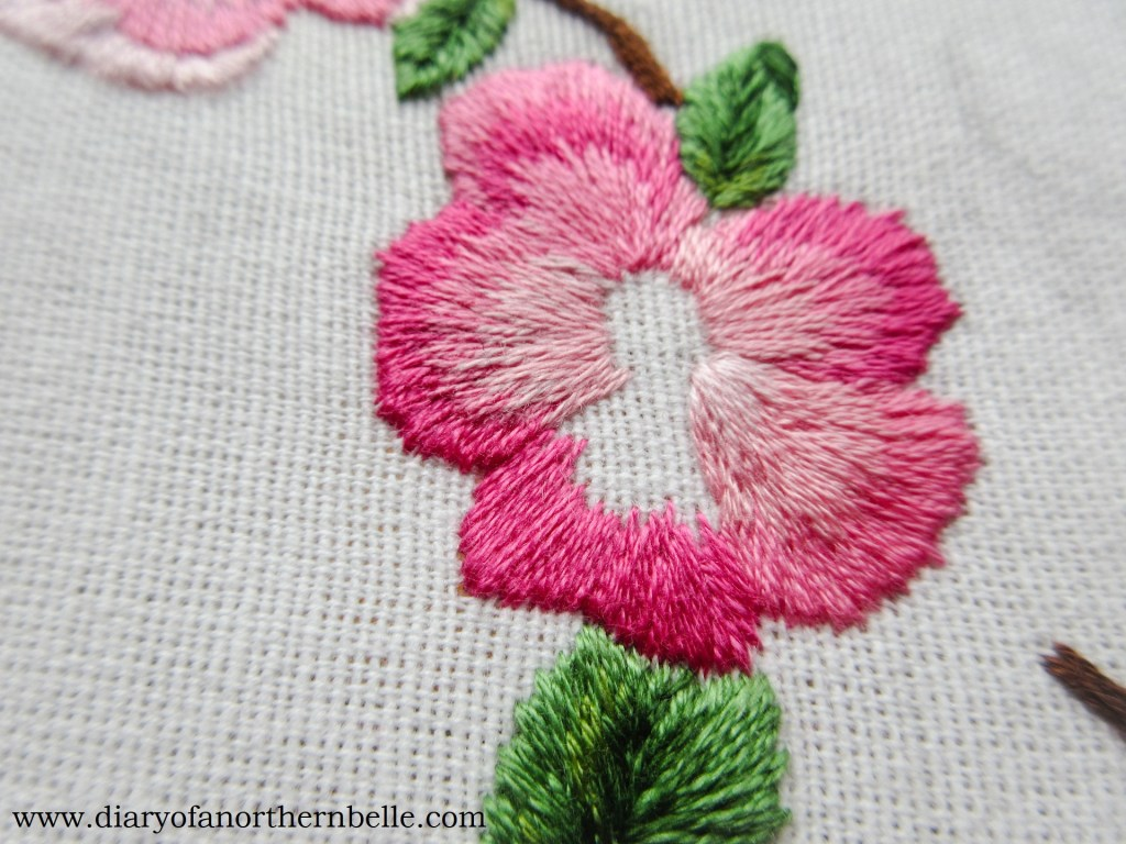 first layer of the long & short stitch on rose petal