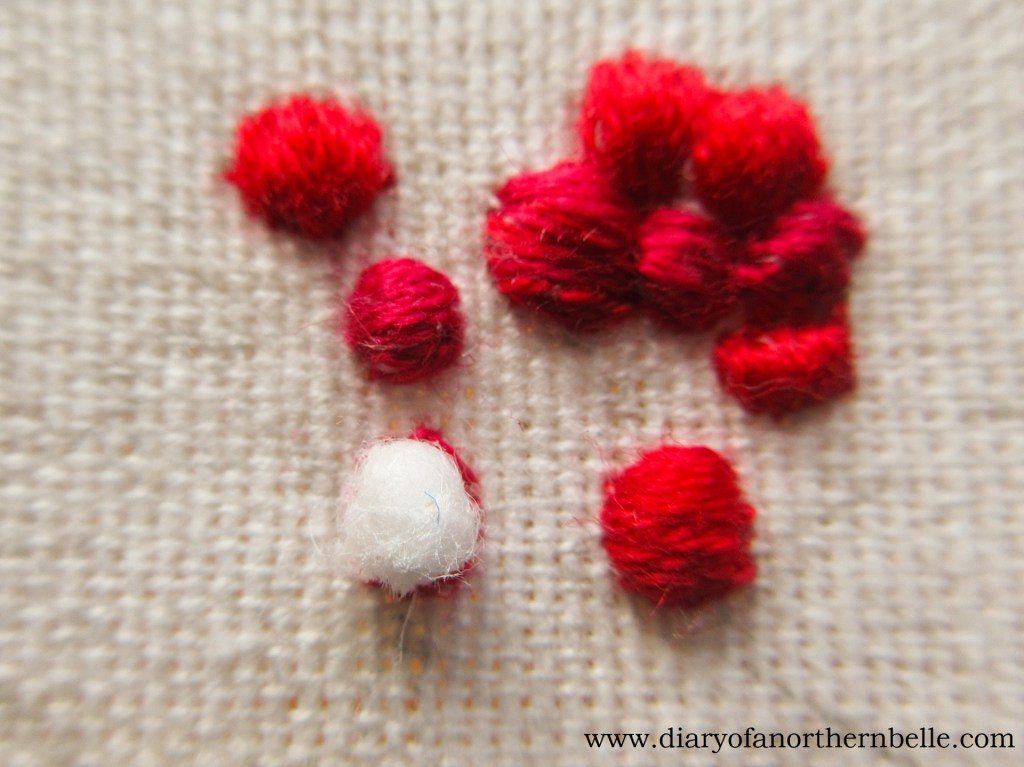 cotton ball to create stumpwork effect