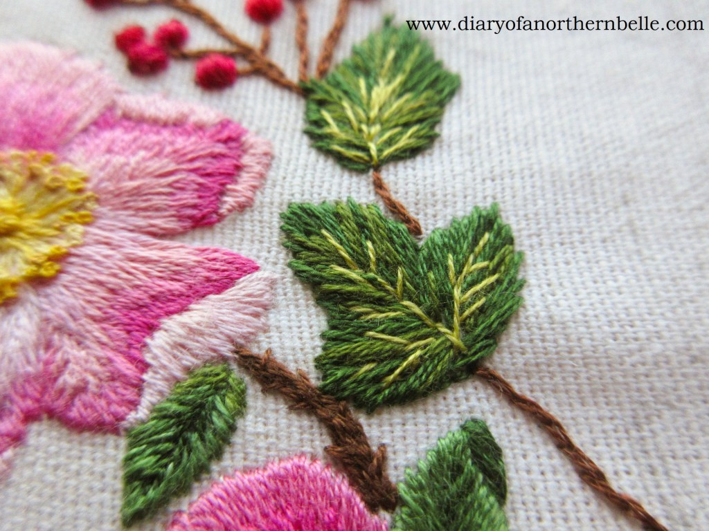 embroidered currant leaf in needle painting