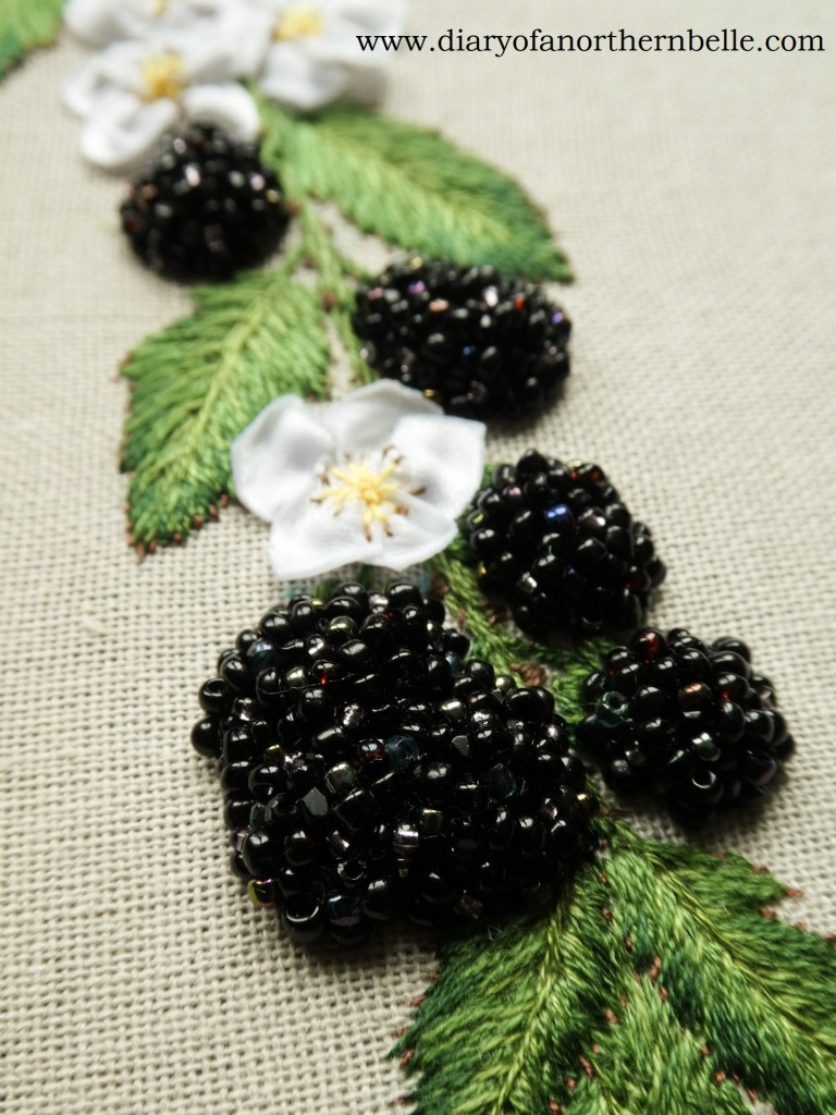close-up view of finished beaded blackberries