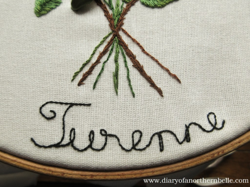 part of the embroidered title in backstitch