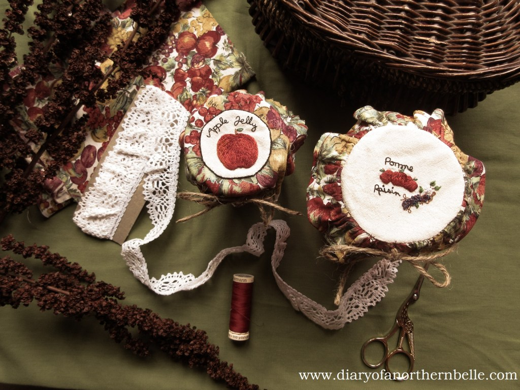 decorated jam jars with embroidered bonnets