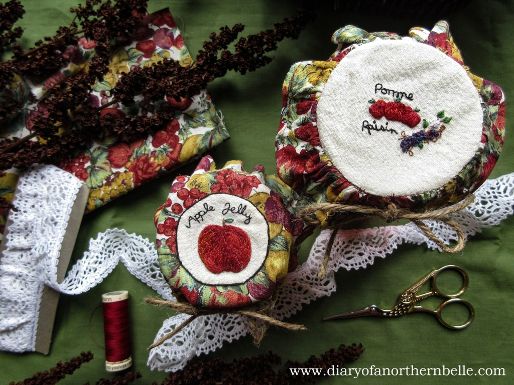 top view of both jars with finished embroidered jar bonnets