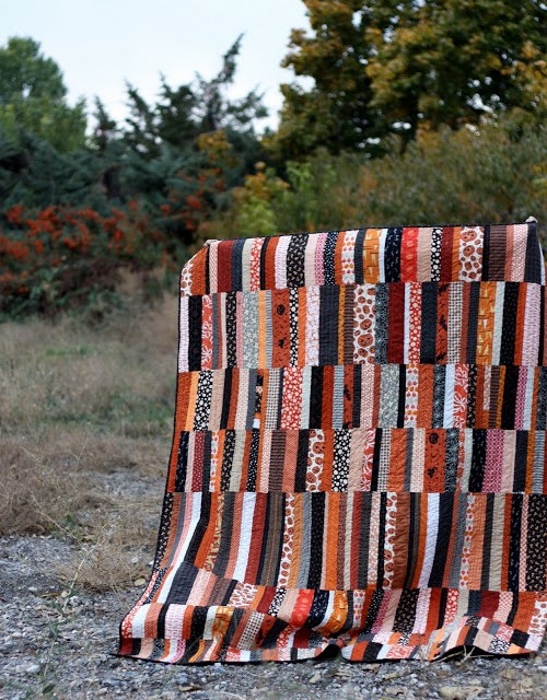 Modern, scrappy Halloween Quilt by Amy Smart - Diary of a Quilter
