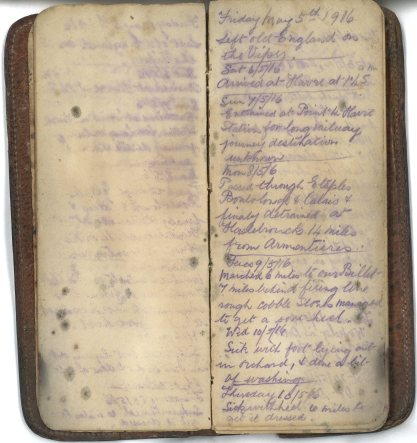 E.L. Garraway. First page of War Diary and arrival in France 5th to 11th May 2016