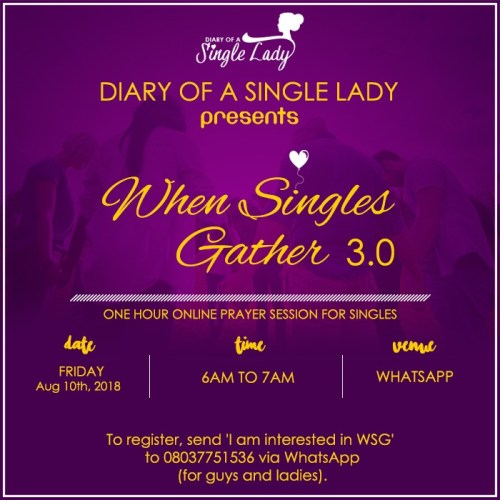 WHEN SINGLES GATHER 3.0 by DIARY OF A SINGLE LADY by ESTHER BAMILOSHIN
