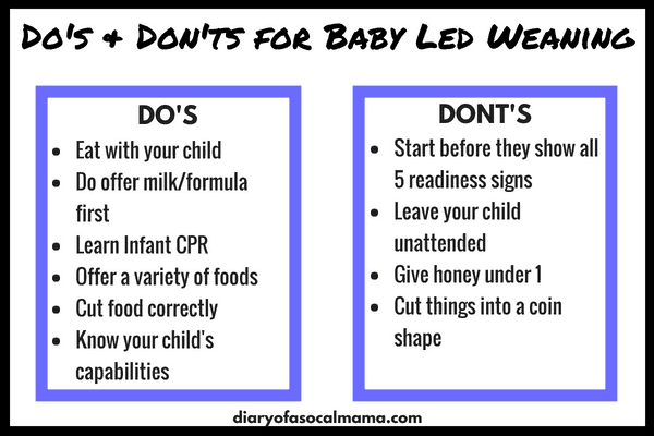 Chart showing Do's and Don't for Baby Led Weaning
