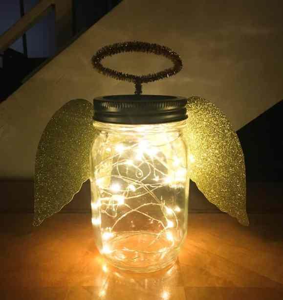 angel mason jar with twinkle lights