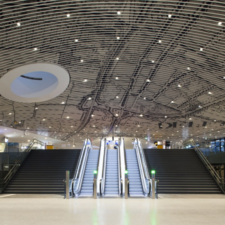 Delft's railway station, designed by Mecanoo, with tiles by Mosa