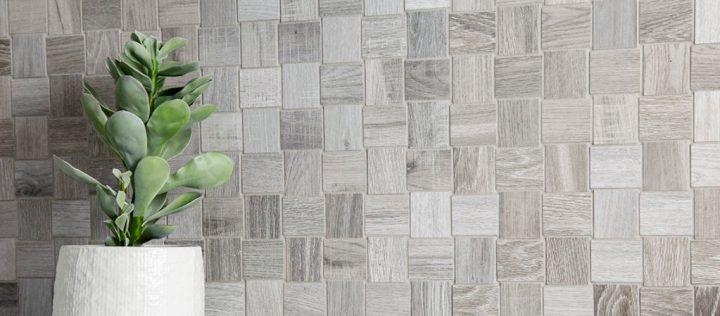 wood look porcelain Nouveau Silver Mosaic by Nemo Tile (300mm by 300mm)