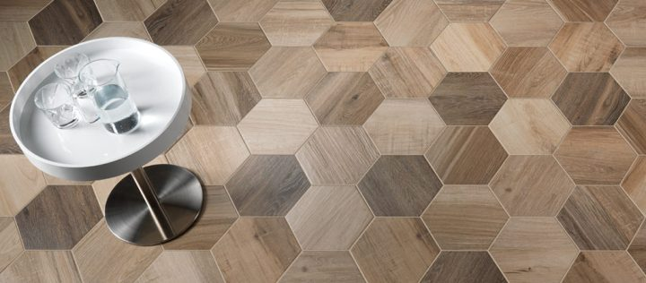 wood look porcelain Nouveau Pewter Hex from Nemo Tile (240mm by 277mm)