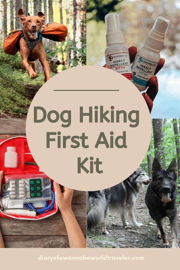 Dog hiking first aid kit pin