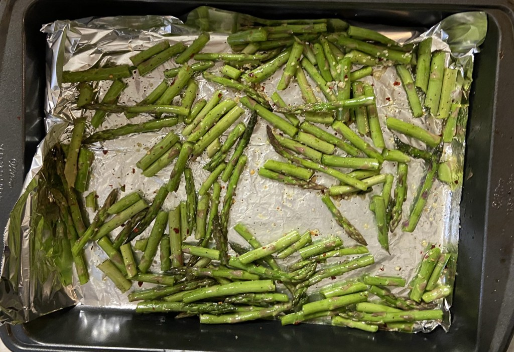 Chopped and seasoned asparagus