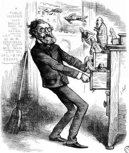 Karikaturë nga Thomas Nast në gazetën Harper's Weekly më 26 Janar 1878. Sekretari i Brendshëm po heton për korrupsion Byronë e Indianëve. Ai duhet të marrë një pjesë të korrupsionit për t'i lënë atyre pjesën e vet.