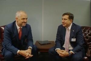 Edi Rama dhe Mikhel Saakashvili gjatë një takimi në Nju Jork