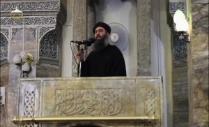 Still image taken from video of a man purported to be reclusive leader of militant Islamic State Abu Bakr al-Baghdadi making what would be his first public appearance at a mosque in Mosul