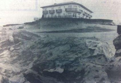 hôtel Marinella vu depuis les restes du mur de soutien Janvier 1973