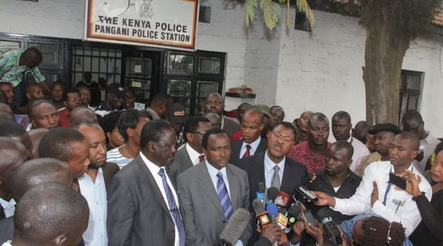 CORD leaders Raila Odinga, Moses Wetangula and Kalonzo Musyoka, who visited the station were not spared either. They left without seeing the leaders/KEVIN GITAU