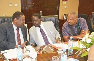 Amani National Congress Musalia Mudavadi (left), ODM party leader Raila Odinga and Kanu Secretary-General Nick Salat at a meeting in Nairobi on June 19, 2016. Analysts on July 15, 2016 said that Mr Odinga would have to move strategically to avoid triggering more fallouts. PHOTO | NATION MEDIA GROUP