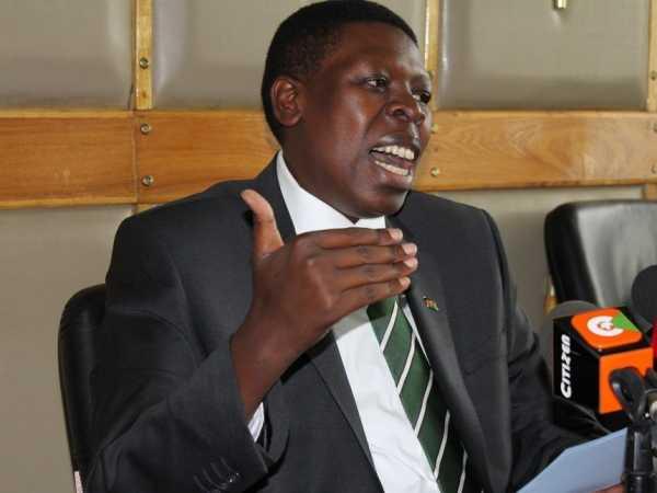 Water CS Eugene Wamalwa at a past press briefing /MONICAH MWANGI