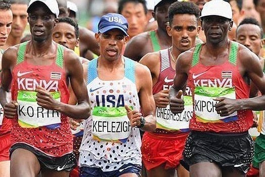 MP Wesley Korir (left) during the men's marathon race of the Rio 2016 Olympic Games on August 22, 2016. PHOTO | COURTESY