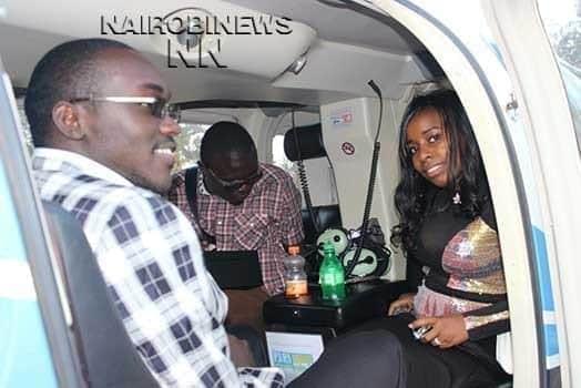 Saumu Mbuvi and her boyfriend BensonGatu (in a jacket) aboard the chopper. PHOTO |MARTIN MWAURA