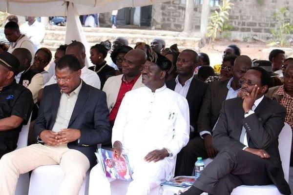 Cord principals Moses Wetang'ula, left, Raila Odinga (centre) and Kalonzo Musyoka during the burial of Ms Wavinya Ndeti's husband in Machakos on Friday. PHOTO   FILE   NATION MEDIA GROUP