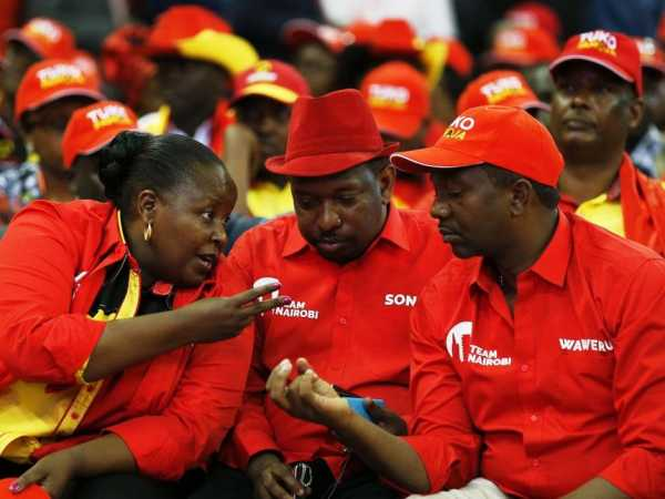Aspirants to the Nairobi Governor's seat under Jubliee Party (L) Margaret Wanjiru, Mike Sonko and Dennis Waweru during the launch of the Jubilee Party membership smartcard at Kasarani on January 13. /Jack Owuor