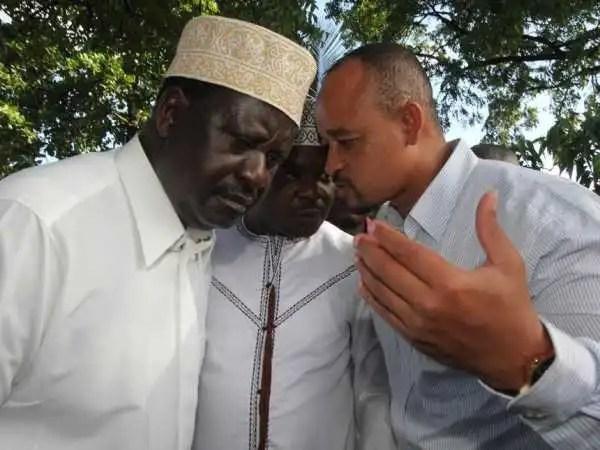 A file photo of ODM leader Raila Odinga and Lunga Lunga MP Khatib Mwashetani in Likoni. /ELKANA JACOB