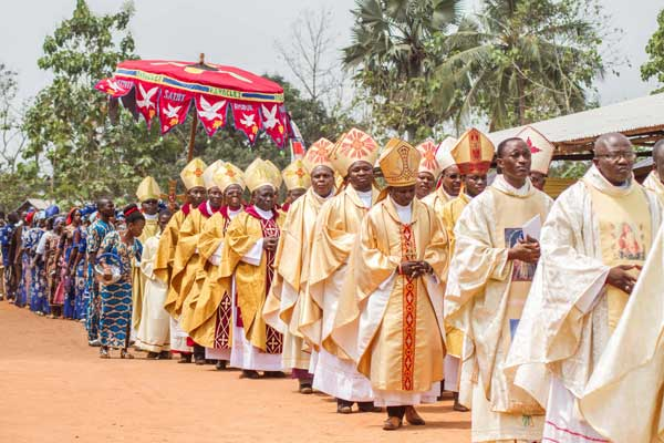 Priests of the Very Holy Church of Jesus Christ of Baname arrive at the Nazareth church in Djidja on February 25, 2017. PHOTO | AFP