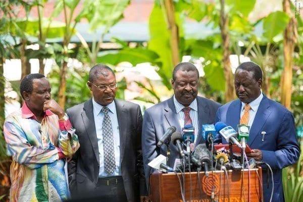 Opposition leaders (from left) Kalonzo Musyoka, Moses Wetang'ula, Musalia Mudavadi and Raila Odinga at Nairobi Serena Hotel on January 31,2017. PHOTO | EVANS OUMA