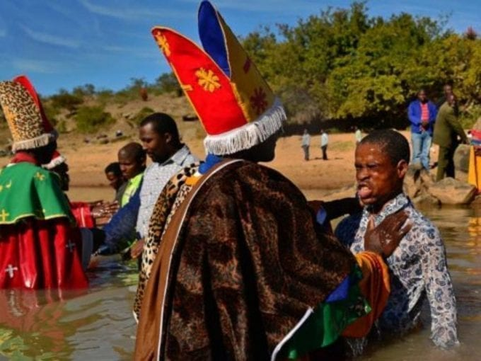 """""""Many charismatic churches in Africa perform baptisms in rivers."""" /BBC"""
