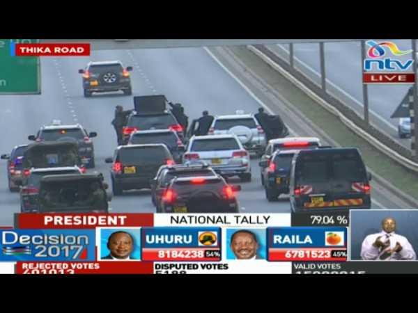 Image result for President Uhuru Kenyatta's convoy enroute Nairobi CBD #ElectionsKE