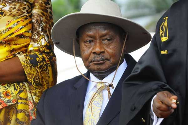 Uganda's President Yoweri Museveni during his swearing in ceremony as newly-elected President on May 12, 2016. Members of Uganda's ruling NRM Tuesday voted unanimously in favour of a motion seeking to amend the Constitution to remove the presidential age limit. PHOTO   RONALD KABUUBI   AFP