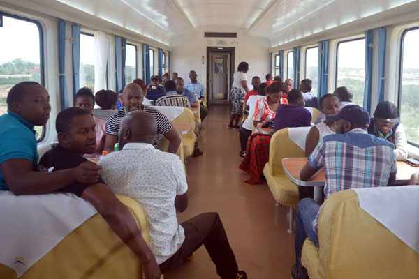 Passengers aboard the Madaraka Express train from Mombasa to Nairobi