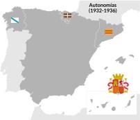 Durante la Segunda República tres regiones obtuvieron un estatuto de autonomía. Sólo Cataluña llegó a desarrollarlo.